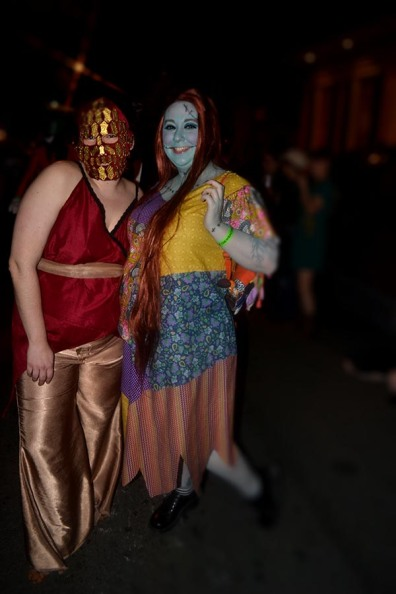The Parade! My friend E and I. E was dressed as Quaithe from Game of Thrones.
