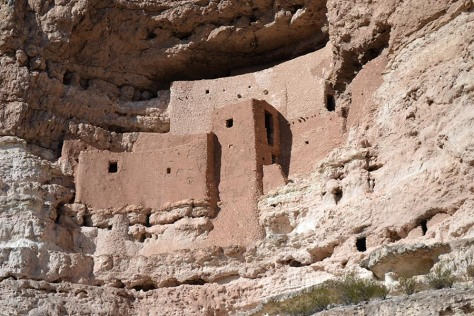 A close up view. Today, visitors are not allowed up to the dwellings themselves, but when they were first discovered, many people braved the ladders to go up the cliffs to see what was inside. Many archaeologists and architects have explored and examined the ruins.