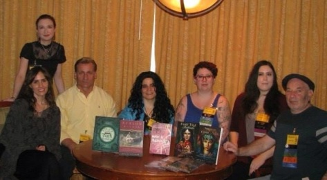 From left to right: Tess Whitehurst, Elysia Gallo, Tony Mierzwicki, Jhenah Telyndru, Me, Stephanie Woodfield, Kenny Klein