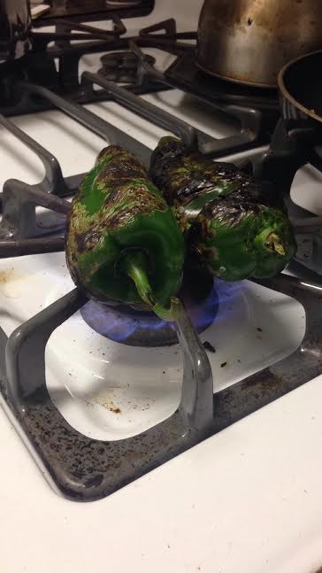 Peppers roasting merrily on my stove top!